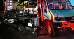 Camión Baltazar de Tizayuca choca contra patrulla de Edomex