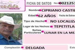 Buscan a sujeto de 62 años extraviado en Tepetitlán