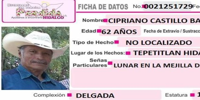 Localizan Cipriano Castillo Badillo desapareció Tepetitlán