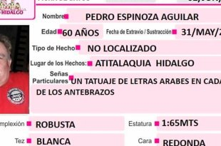 Se busca a Pedro Espinoza, desapareció en Atitalaquia