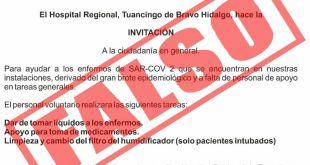 Falso que soliciten voluntarios para atender Covid en Tulancingo: SSH