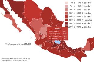 Hidalgo reporta 55 nuevos contagios Covid-19; 782 defunciones