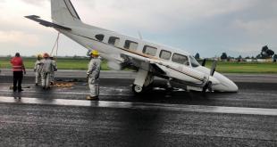 Aeronave de Pachuca aterriza sin tren en aeropuerto de Toluca