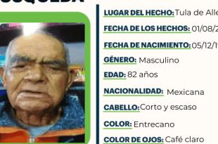 Se busca a Manuel Sánchez Domínguez, extraviado en Tula de Allende
