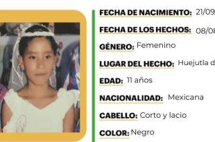 Buscan a niña de 11 años que se extravió en Hujeutla