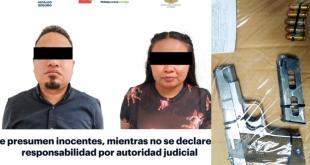 Detienen a pareja armada en el centro de Pachuca