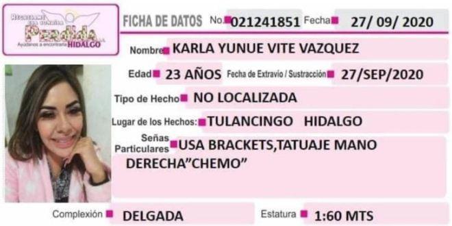 Karla Yunue Vite Vázquez extraviada Tulancingo
