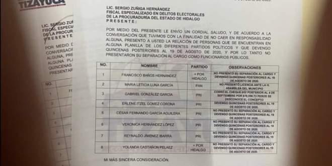 deslinda Concejo Tizayuca listado funcionarios