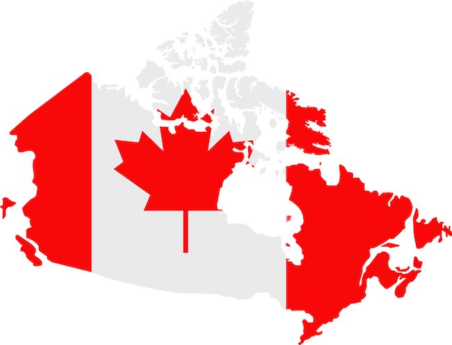 illustration of canadian flag over canadian map
