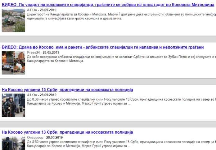 Tituj mediash për ngjarjet në Veri të Kosovës më 28 maj 2019