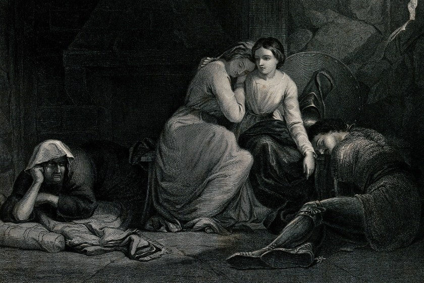 Amoret and Aemylia with Prince Arthur in the Cottage of Sclaunder, by G.A. Periam