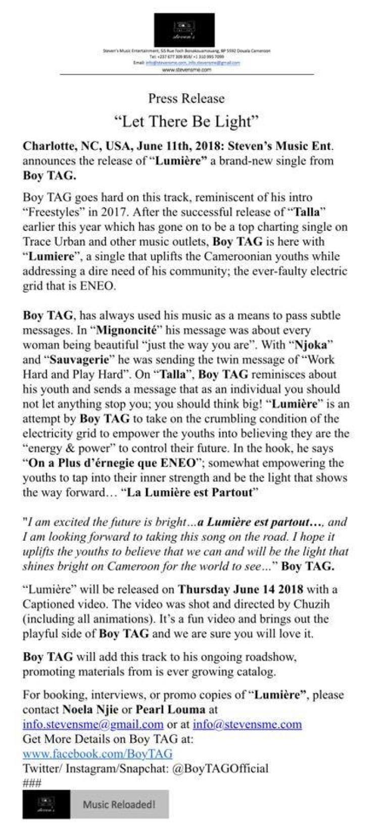 Stevens Music Press Release