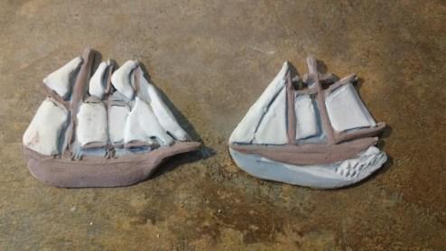 Tall Ship pin before glaze kiln firing