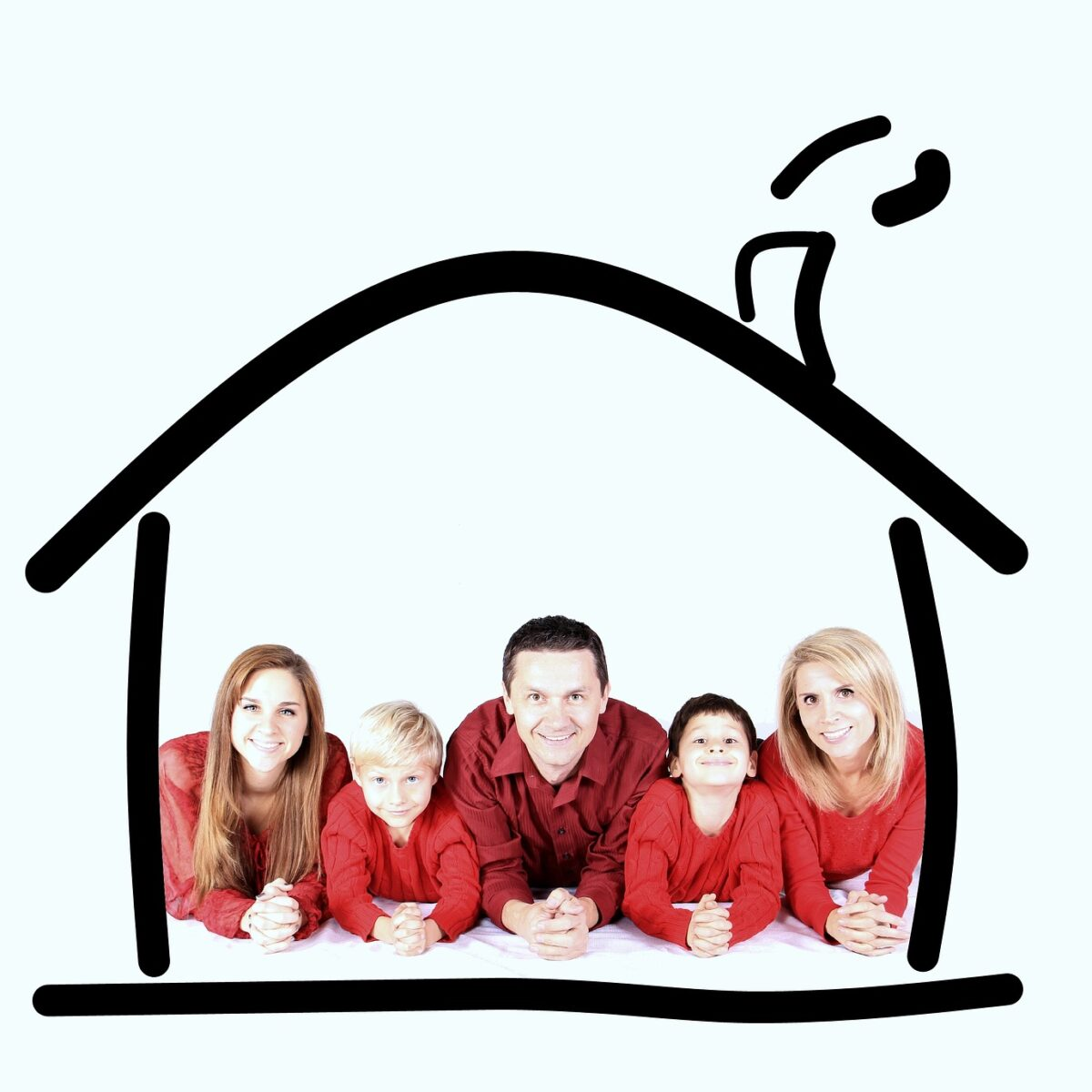 family in house outline insurance