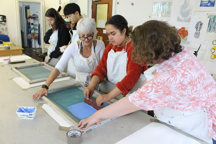 Screen printing masterclass at Gower College Swansea.