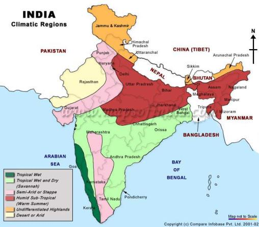 Image result for india climate map
