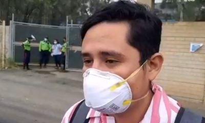 El paciente recuperado habla con los medios de comunicación a su salida del hospital de Villa Nueva, donde estuvo 15 días. (Foto: Captura de video)