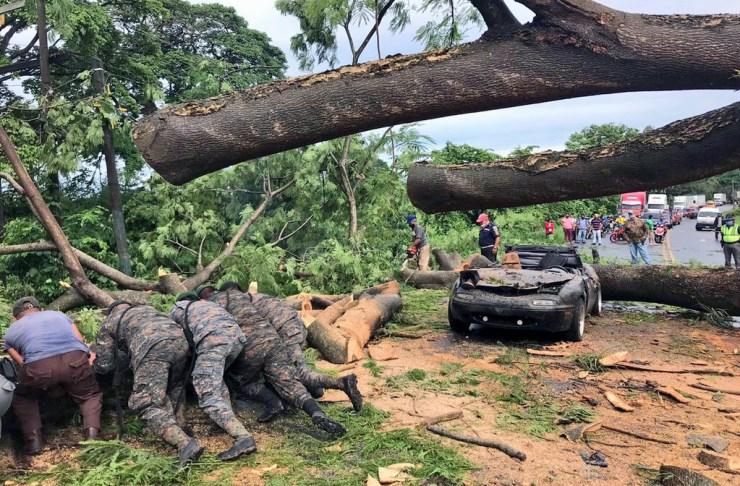 Miembros del Ejército de Guatemala ayudaron al rescate el cuerpo y a la limpieza de la carretera donde cayó el árbol. (Foto: BMD, Ejército de Guatemala y Cruz Roja)