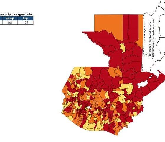 El mapa de colores del sistema implementado por el Gobierno de Guatemala, muestra el comportamiento del COVID-19 en el país, según los colores. (Foto: MSPAS)