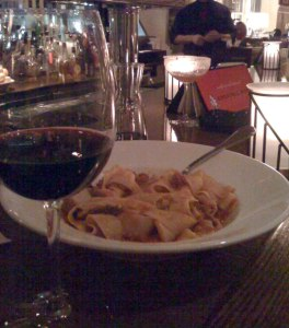 Wine and pasta at restaurant