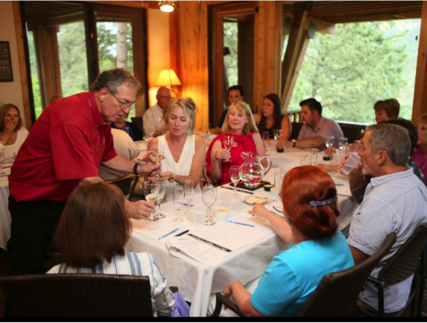 Howard Price (L) instructs the Sommelier 101 class participants