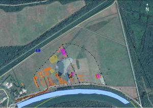 Modificirani nacrt logora Jasenovac prema Zemaljskoj komisiji superponiran na satelitsku snimku lokacije logora