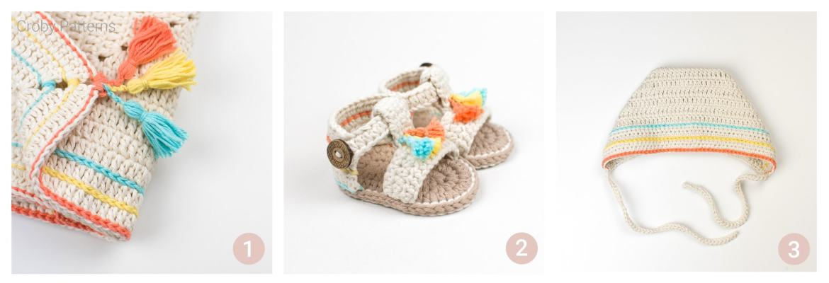 Boho Collection Crochet baby Patterns - Free crochet pattern for baby sandals, crochet baby bonnet, crochet baby blanket.