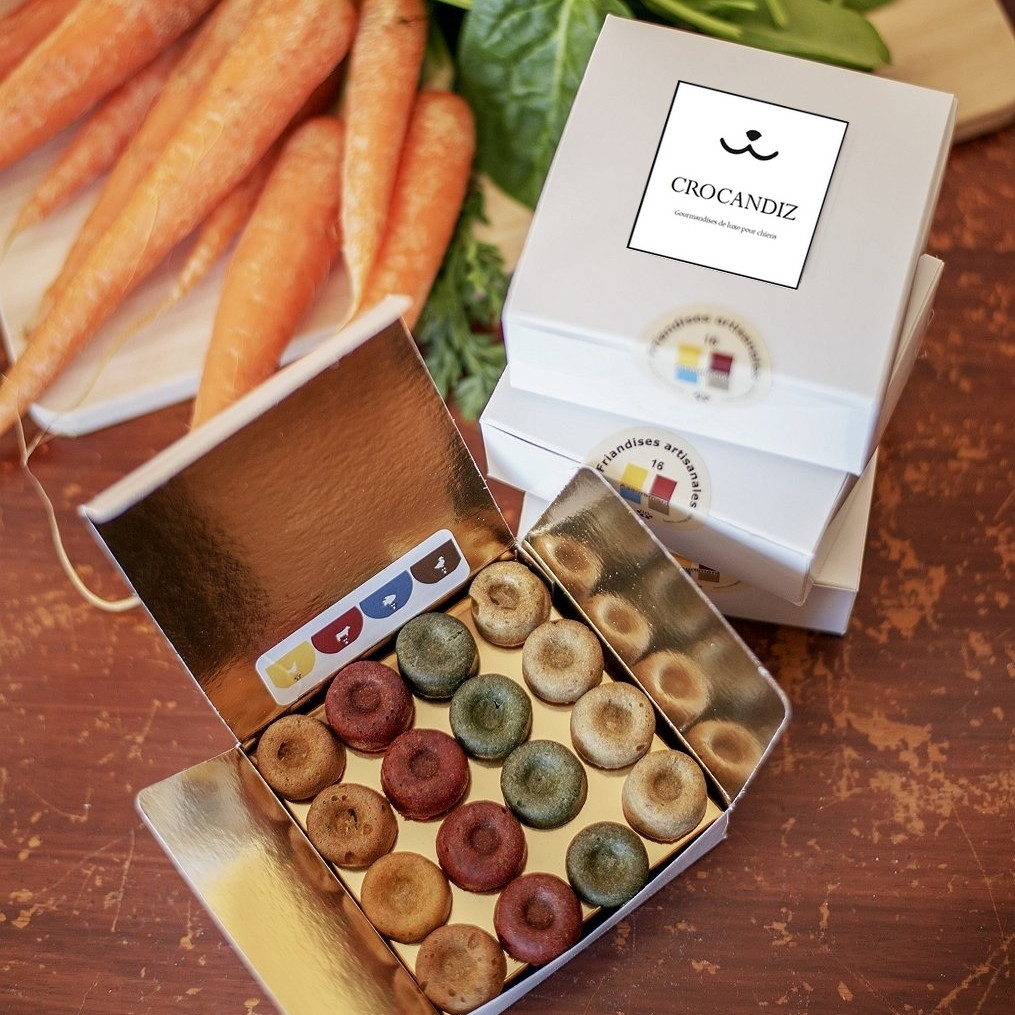gourmandises-de luxe-pour-chiens-boite-4 recettes-boeuf-poulet-canard-poisson-crocandiz