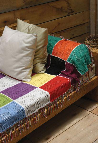 Manta de sof colorida  Croche  Encantos