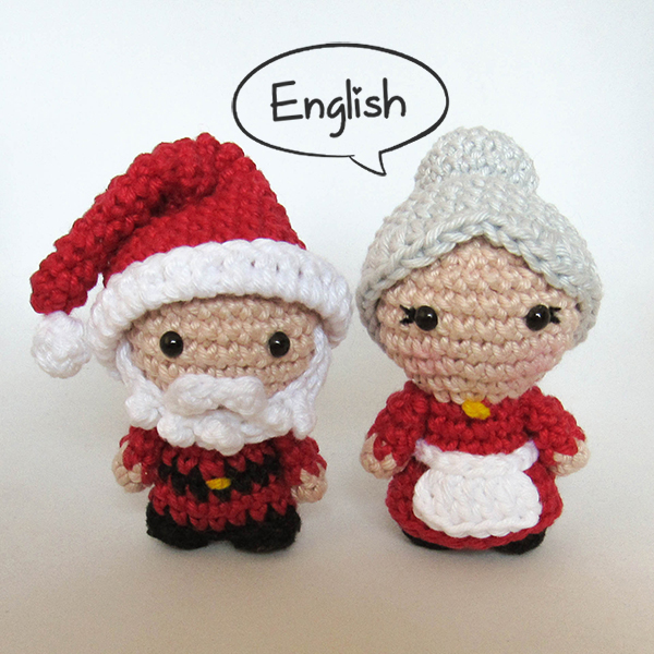 Santa and Mrs Claus - amigurumi pattern by Crochelandia