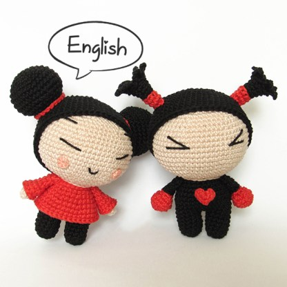 Pucca and Garu - crochet pattern by Crochelandia