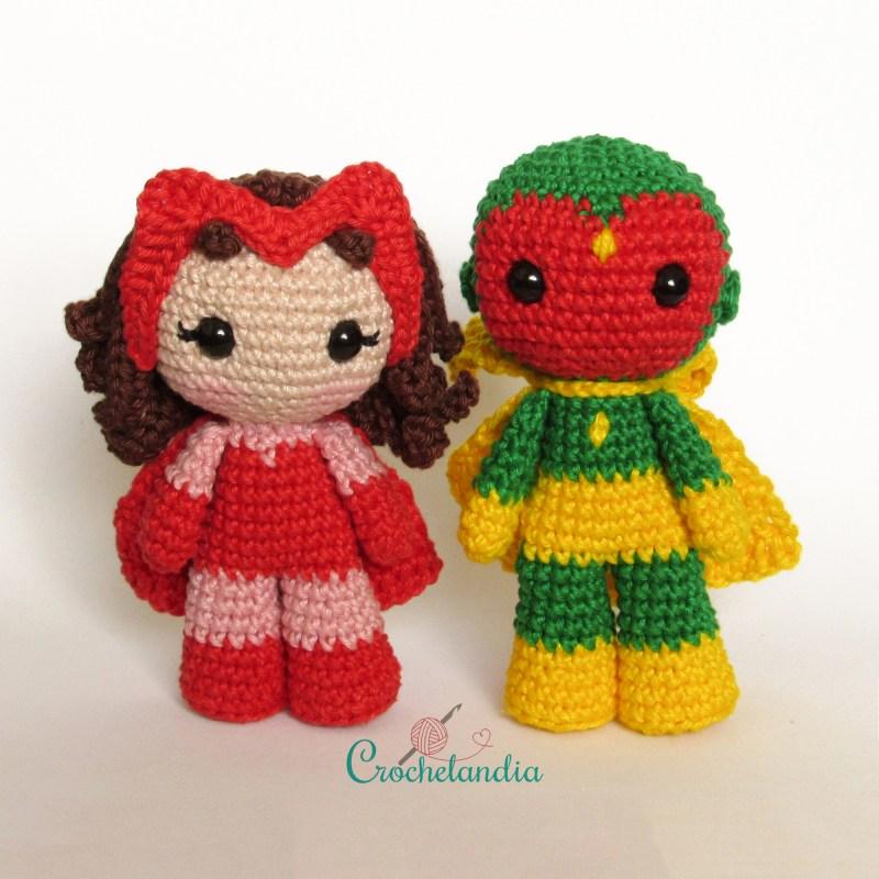 Toy Art Amigurumi Wanda e Visão - by Crochelandia