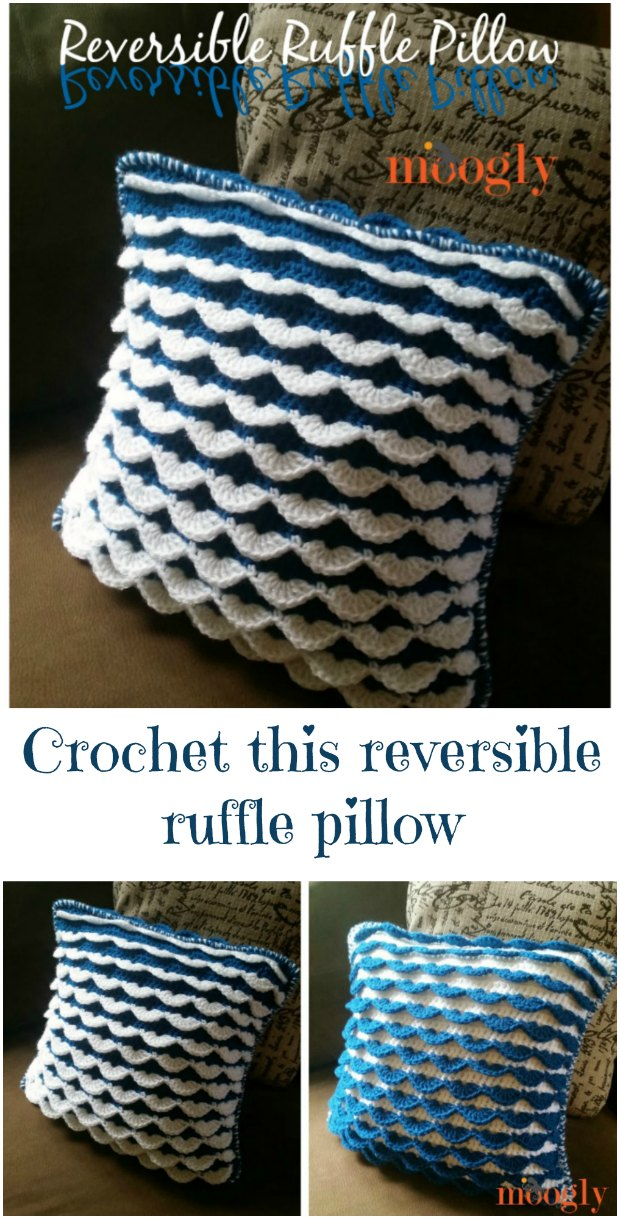 Reversible Ruffle Pillow - free crochet tutorial.