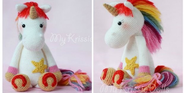 Crochet this magical rainbow unicorn