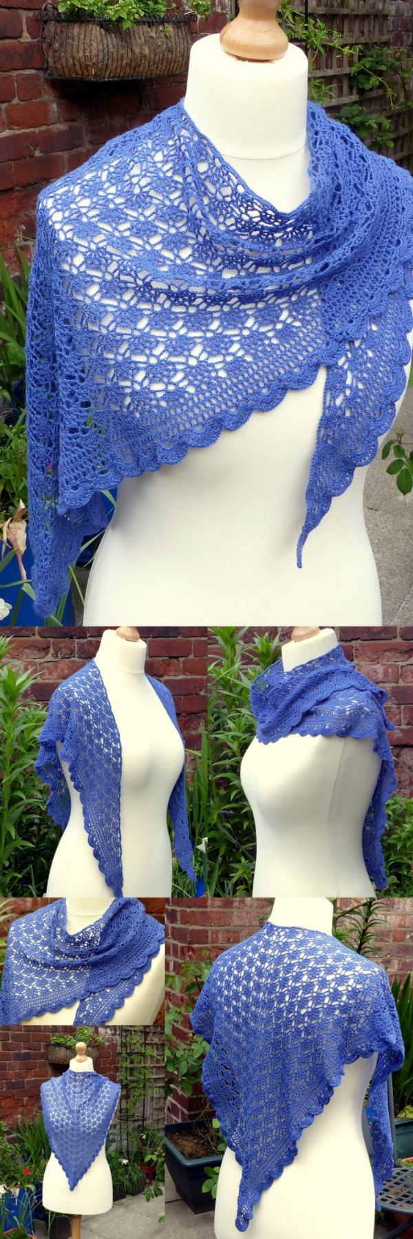 Free lace shawl crochet pattern. Free downloadable pattern in US or UK terms, with diagram.
