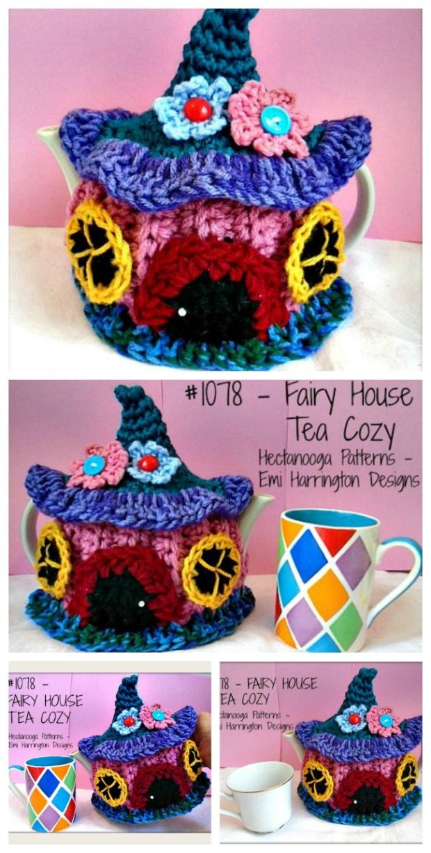 Cute Fairy Cottage to Crochet. Free pattern. Use it as a tea pot cozy, or lots more ideas in the article,