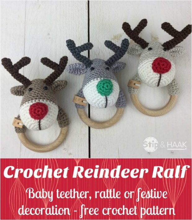 Free crochet pattern for Reindeer Ralf. Use him as a rattle, teething ring or just as a fun toy or decoration.