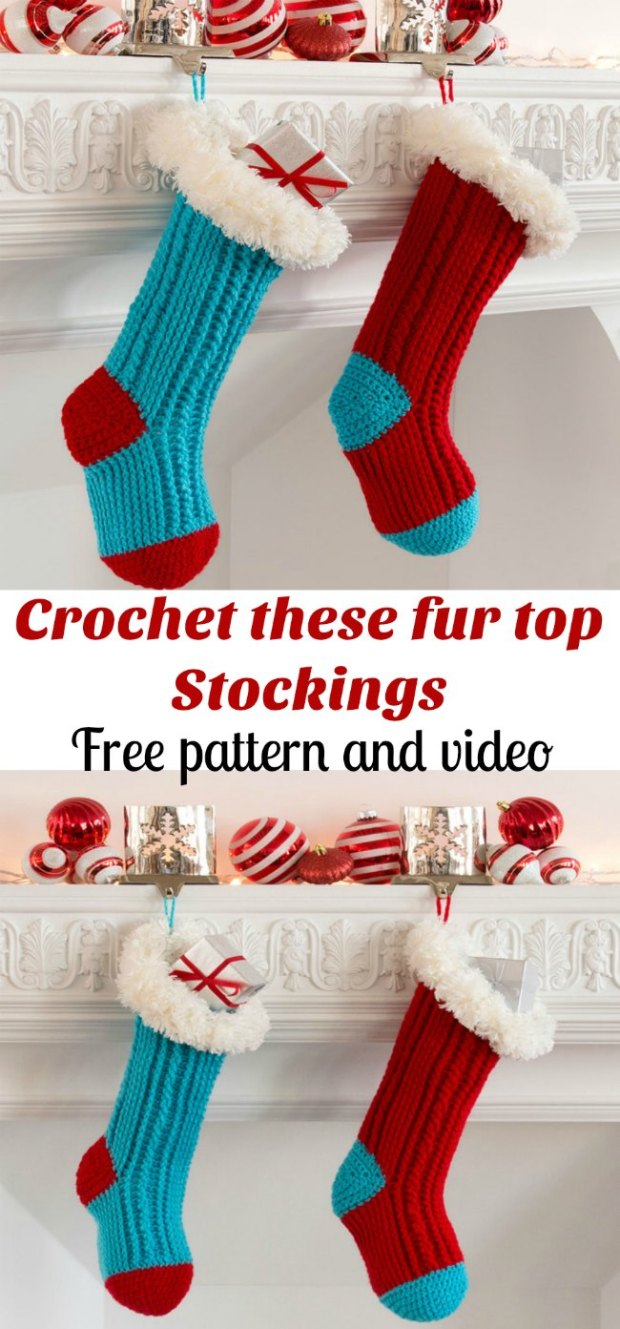 Free crochet pattern and video for these Fur Topped Christmas Stockings.