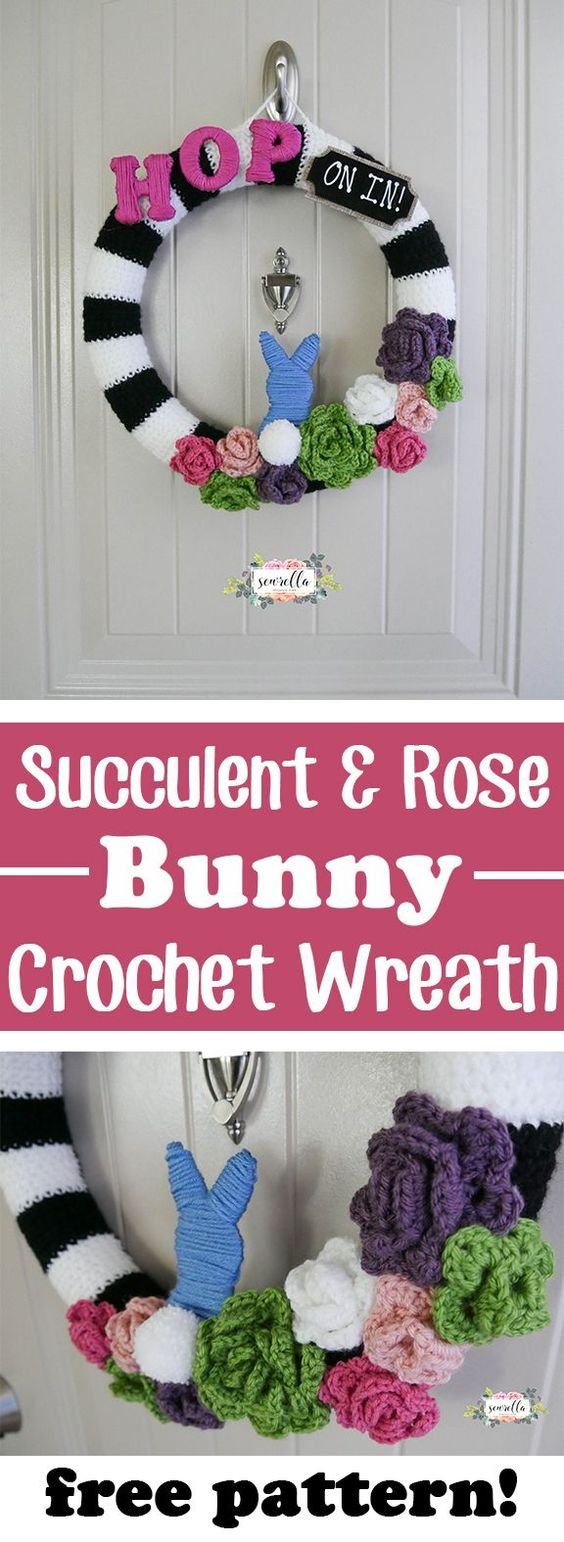 Free crochet pattern for this Easter or Spring wreath with bunny and flowers.