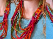 Ideal learn to crochet project. Simple chain scarf or necklace. Free pattern.