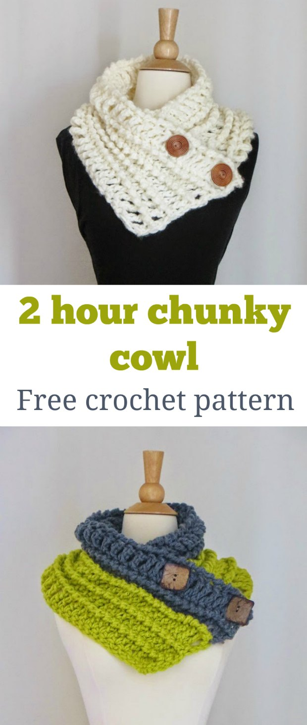Super-quick, super-easy 2 hour chunky cowl free crochet pattern. Uses super bulky yarn of your choice for a thick and warm cowl.