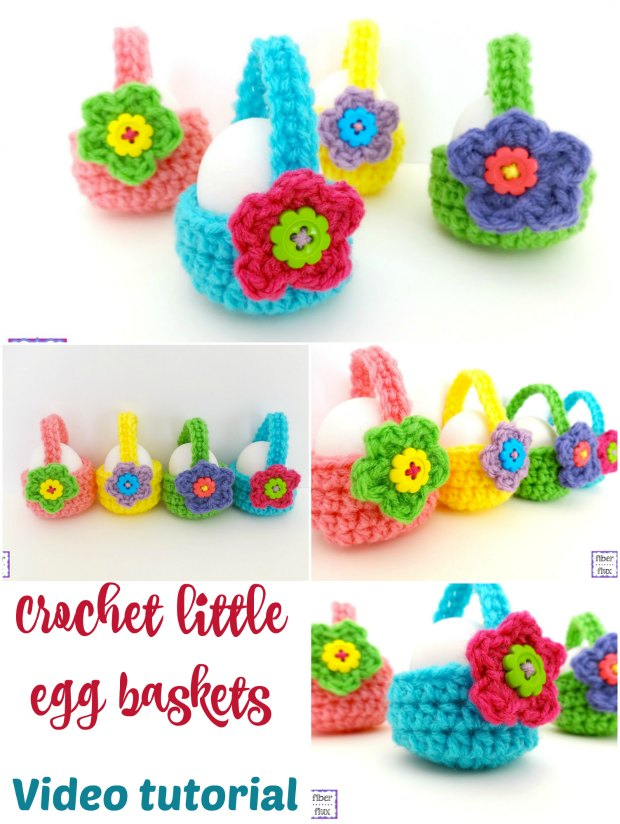Video for how to crochet these cute little egg baskets for Spring or Easter. Free crochet pattern.