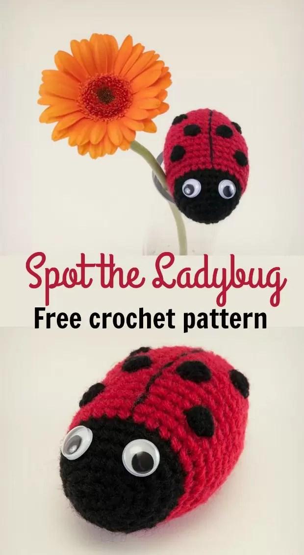 Free crochet pattern, Spot the Ladybug. Ideal beginner amigurumi crochet pattern.