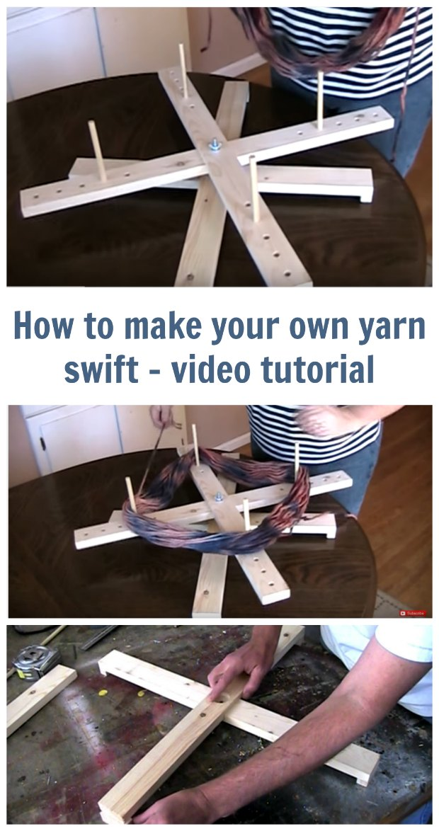 Video on how to make your own yarn swift. Amish style yarn swift woodworking project and video. For crochet and knitting.