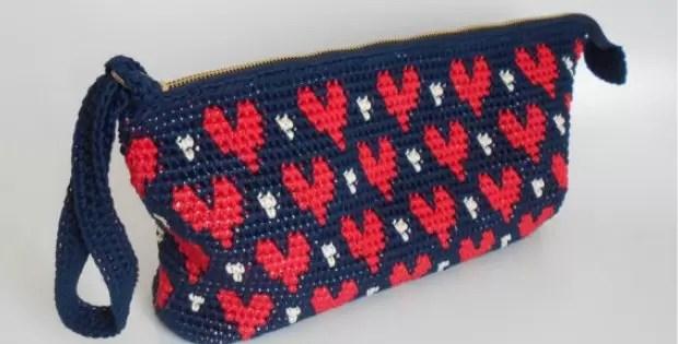crochet heart pattern bag