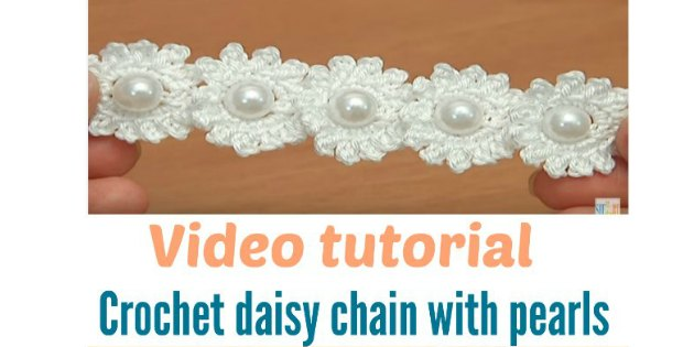 crochet daisy chain with pearl beads. Easier than it looks!