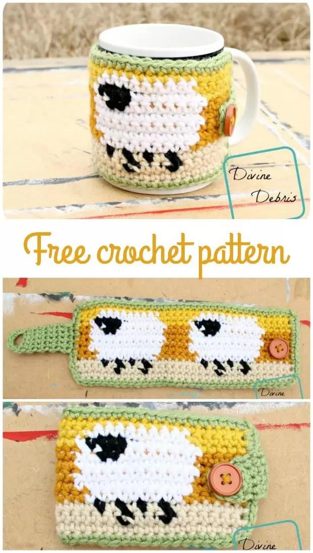 Sheep mug cozy, free crochet pattern.