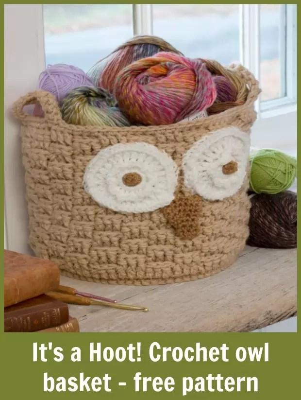 Free owl basket crochet pattern. Very easy to make.