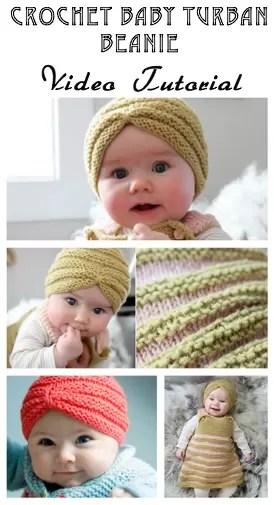 Crochet Baby Beanie - Turban Beanie - Free Video Tutorial