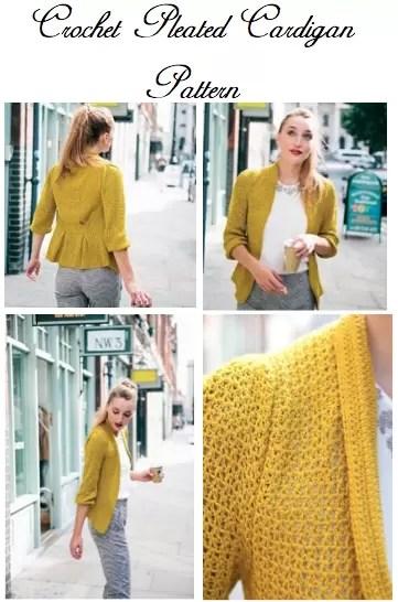 Crochet Pleated Cardigan Pattern
